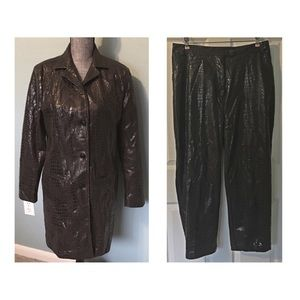 Selene Sport Jacket Ankle Pants Suit Croc 12 14